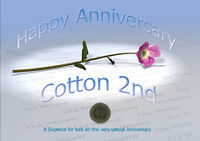 Sixpence for Luck 2nd Cotton Wedding Anniversary Card