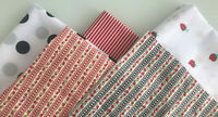 NAVY / RED MINI FLOWER STRIPE PATCHWORK CRAFT FABRIC MATERIAL BUNDLES