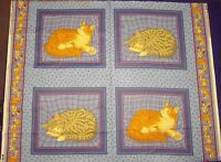 Ginger And Grey Cats Cushion Panels Cotton Fabric - 4 Panels