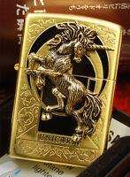 UNICORN Emblem GD Free Gift Set(Shipping, 1 Flints, 1Wick) Zippo Lighter Genuine