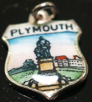 Sterling Silver Vintage Crest Charm Enamel Plymouth