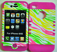 HYBRID SILICONE RUBBER + COVER CASE SKIN FOR IPHONE 4 4S GLOW IN THE DARK ZEBRA