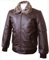 Mens Real Leather Brown Bomber Pilot Aviator Air Force Flight Jacket Fur Collar