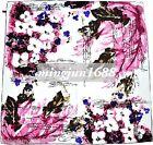 Scarves 100% Silk Twill Floral Purple Handmade Silk Scarf Shawl Square Wrap