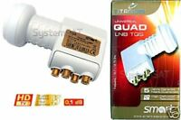 Quad LNB 0.1dB Smart Titanium Gold Coated F Type 4 Outputs - IN STOCK
