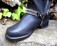 BIKER BOOTS BOOT CHAINS BLACK TOPGRAIN COWHIDE LEATHER WITH CYCLE CHAINS