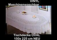 150 x 225 cm OVAL Weiß Vinyl ,TISCHDECKE SCHUTZDECKE Blumenmuster NEU