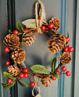 Christmas MINI WREATH Red Holly Berries leaves pinecones festive Sass & Belle