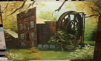LARGE ORIGINAL OIL ON CANVAS WATERMILL LANDSCAPE PAINTING SIGNED CHEN