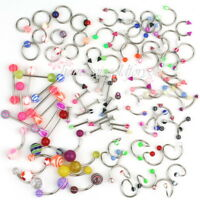Women 100pcs Colorful Ball Tongue Nipple Bar Ring Barbell Body Jewelry Piercing