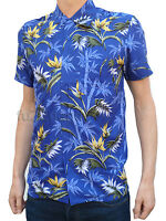 NEW retro vtg 50s indie SHIRT preppy 60s xs s m l xl Hawaiian Beach Blue palm