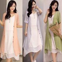 Summer Cotton Fashion Classical Two-piece Suit Elegant Casual Literature Dress