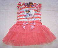 Dora The Explorer Girls Coral White Printed Dress Size 6 New