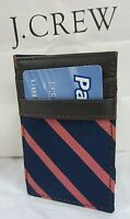 J CREW INSIDE OUT MAGIC WALLET NAVY BLUE & PINK STRIPE W/BROWN LEATHER TRIM NWT