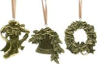 Gold Stocking Wreath & Bell Set of 3 Christmas Tree Decorations