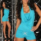 NEW SEXY HALTER NECK OVERALL JUMPSUIT BROOCH TURQUOISE SIZE 8-12 ~ PARTY CASUAL