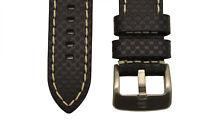 24mm CARBON FIBER black genuine leather watch band STRAP heavy duty