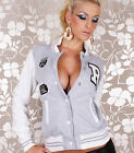 NEW SEXY WOMENS BASEBALL COLLEGE JACKET GREY WHITE SIZE 6 8 10 12 WITH PATCHES