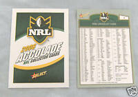 2006 ACCOLADE RUGBY LEAGUE CARDS - CHECKLISTS