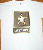 ARMY MOM  Ladies White T Shirt  Sz Sm - 3XL Celebrating A Mothers Soldier