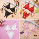 Women's Sexy Lace Babydoll G-string Lingerie Underwear Bra Set Open Crotch New