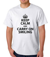 KEEP CALM  AND CARRY ON SMILING,  FUNNY T SHIRT, Christmas / Birthday Gift,
