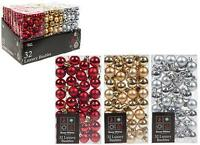set of 32 christmas small baubles 2.5cm red silver gold xmas decorations tree