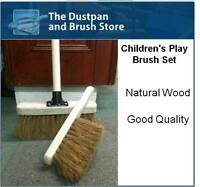 Childrens Sweeping Brush Set, Childs Wooden Broom Toy, Kids Cleaning Set