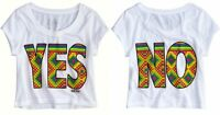 NWT Justice Girls YES/NO Multi Squares Graphic Cropped Tee Top U PICK! NEW