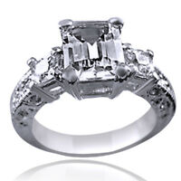 EMERALD CUT AAA CZ 18K WHITE GOLD OVER ENGAGEMENT DRESS RING SIZE US 5.5 +GIFT