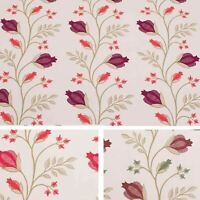 St.Lucia 100% Cotton Floral Design Curtain Fabric Material In Three Colours