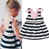 1-5Y Baby Girls Striped Bowknot Sleeveless Dress Princess Party Kids Tutu Skirt
