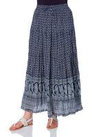 Roman Originals Ladies Tiered Paisley Maxi Skirt Navy