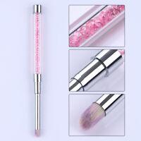 Gradient UV Gel Drawing Brush Pink Gem Handle Manicure Painting Pen Nails Tool