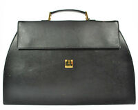 Authentic MCM Leather Black Hand Bag Purse Gold Made in Germany K04200