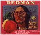REDMAN Vintage Washington Apple Crate Label Indian, red, ***AN ORIGINAL LABEL***