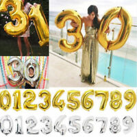 """40"""" Gold/Silver Foil Number 0-9 Balloons Birthday Wedding Party Decoration"""