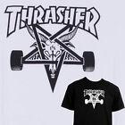 THRASHER SKATE Cabra Skate Camiseta - Clásico Skate Tee - Blanco o negro
