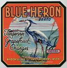 BLUE HERON Vintage Brooksville Florida Citrus Crate Label Bird AN ORIGINAL LABEL