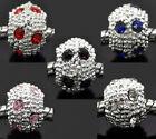 10 Mixte Perles Intercalaires Argenté Strass pr Bracelet Charms 10mm