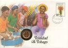 superbe enveloppe TRINIDAD TOBAGO pièce monnaie 1 cent 1972 neuve NEW UNC timbre