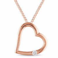 Real Diamond Accent Solitaire Tilted Heart Pendant 10K Rose Gold Valentine Gifts
