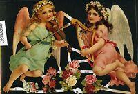 # GLANZBILDER # EF 7127, 2 große Engel mit Harfe & Geige und Blumen mit GLIMMER