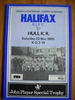 23.11.85 Halifax v Hull KR programme