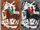 *Vintage Swap/Playing Cards -2 SINGLE - HORSE AND RIDERS
