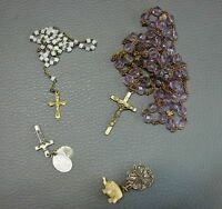 ANCIEN LOT MEDAILLE CHAPELET CROIX ANTIQUE MEDAL ROSARY CROSS PENDANT