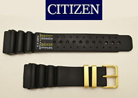 Genuine  Citizen 24mm Aqualand Diver Watch Band Rubber BLACK  Buckle Gold tone