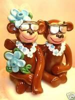 "Wedding Cake Top ""Cool"" Island Monkeys! Custom bride and groom Pamkins"