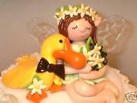 Wedding Cake Topper Fairy & Duck! Custom made Bride and Groom Pamkins