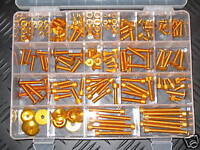 Universal 150 Piece Screw Set Gold Aluminium Anodised Bolts Nuts Washers Screws